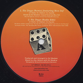 DJ Shadow / Six Days label