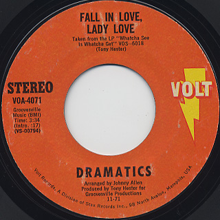 Dramatics / Get Up And Get Down c/w Fall In Love, Lady Love back