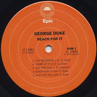 George Duke / Reach For It label