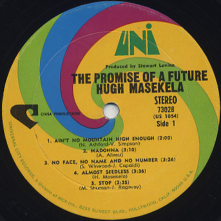 Hugh Masekela / The Promise Of A Futue label