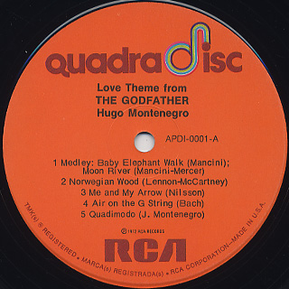 Hugo Montenegro / Love Theme From The Godfather label