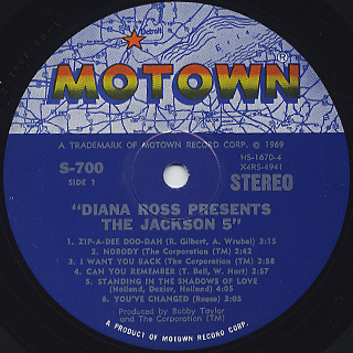 Jackson 5 / Diana Ross Presents The Jackson 5 label