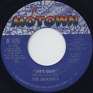 Jackson 5 / Never Can Say Goodbye c/w She's Good back