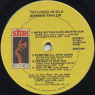 Johnnie Taylor / Taylored In Silk label