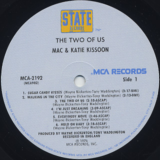 Mac and Katie Kissoon / The Two Of Us label