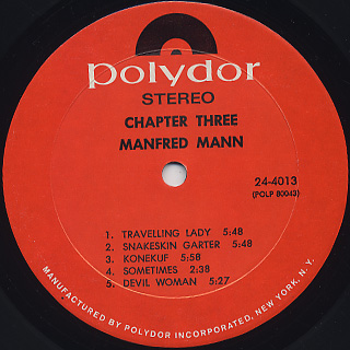 Manfred Mann Chapter Three / S.T. label