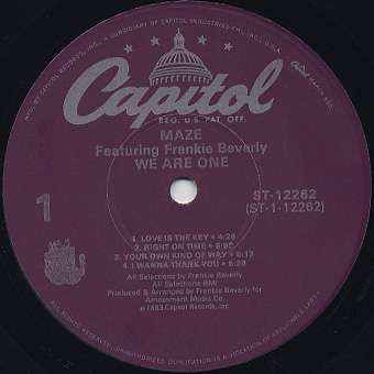 Maze Featuring Frankie Beverly / We Are One label