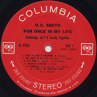 O.C. Smith / For Once In My Life label