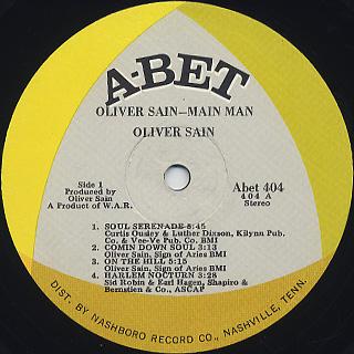 Oliver Sain / Main Man label