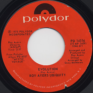 Roy Ayers Ubiquity / Mystic Voyage c/w Evolution back