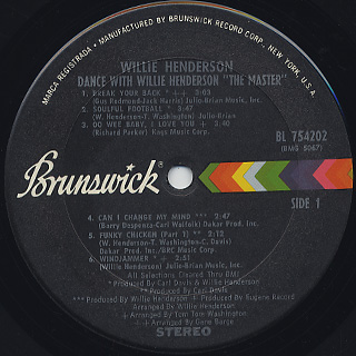 Willie Henderson / Dance With Willie Henderson The Master label