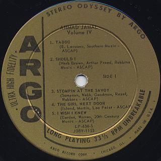 Ahmad Jamal / Volume IV label