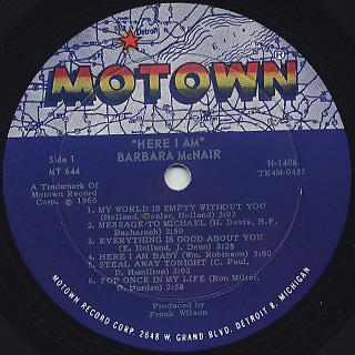 Barbara McNair / Here I Am label