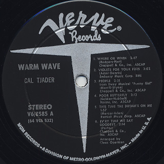 Cal Tjader / Warm Wave label