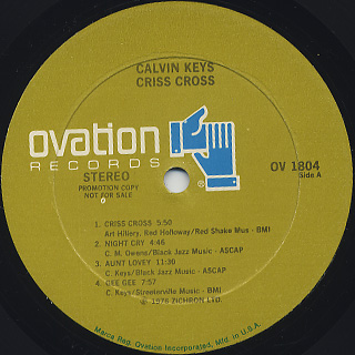 Calvin Keys / Criss Cross label