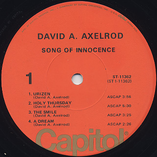 David Axelrod / Songs Of Innocence(Later Jacket) label