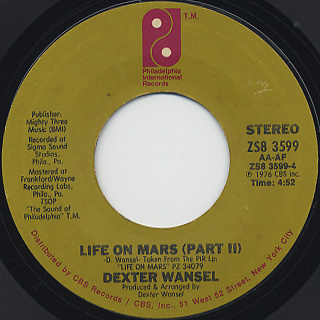 Dexter Wansel / Life On Mars(Part I) c/w (Part II) back