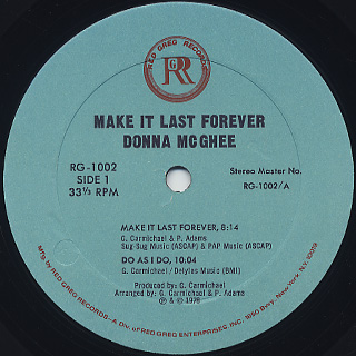 Donna McGhee / Make It Last Forever label