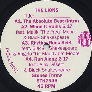 Lions / Soul Riot label