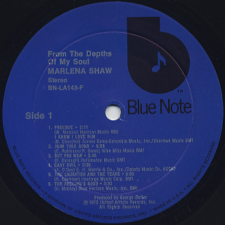 Marlena Shaw / From The Depths Of My Soul label