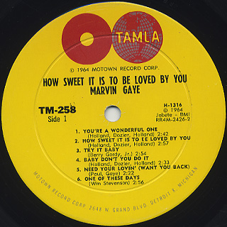 Marvin Gaye / How Sweet It Is To Be Loved By You label