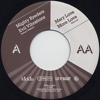 Mighty Ryeders / Evil Vibrations c/w Mary Love / More Love back
