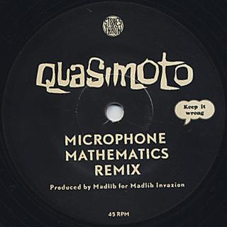 Quasimoto / Hittin Hooks c/w Microphone Mathematics Remix back
