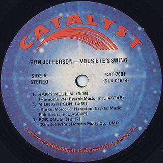 Ron Jefferson / Vous Ete's Swing label