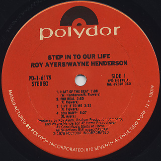 Roy Ayers And Wayne Henderson / Step Into Our Life label