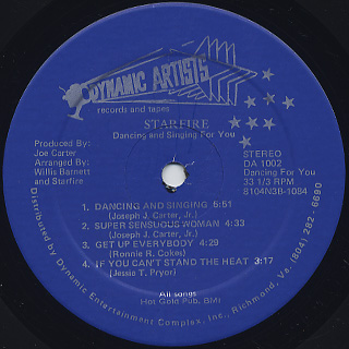 Starfire / Dancing and Singing For You label