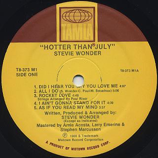 Stevie Wonder / Hotter Than July label