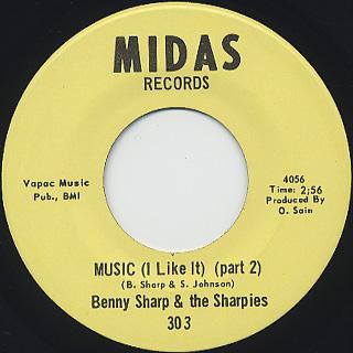 Benny Sharp & The Sharpies / Music (I Like It) (Part 1) back
