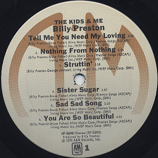 Billy Preston / The Kids And Me label