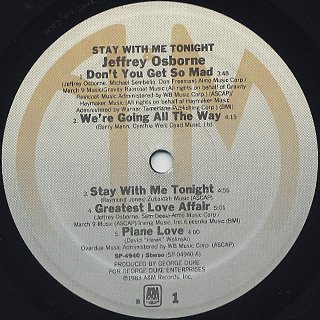 Jeffrey Osborne / Stay With Me Tonight label