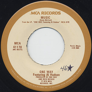 One Way Featuring Al Hudson / Now That I Found You c/w Music back