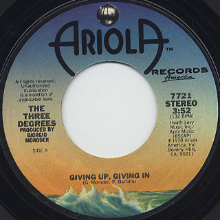 Three Degrees / Giving Up, Giving In c/w Woman In Love