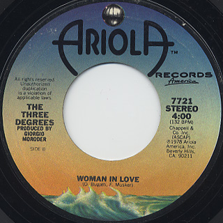 Three Degrees / Giving Up, Giving In c/w Woman In Love back
