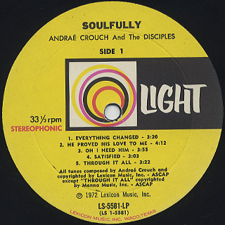 Andrae Crouch and The Disciples / Soulfully label