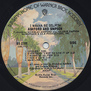 Ashford & Simpson / I Wanna Be Selfish label