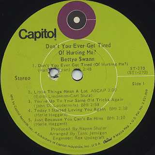Betty Swann / Don't You Ever Get Tired Of Hurting Me? label