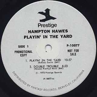 Hampton Hawes / Playin' In The Yard label