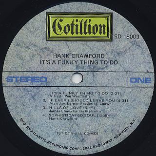 Hank Crawford / Hills Of Love label