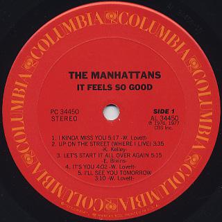 Manhattans / It Feels So Good label