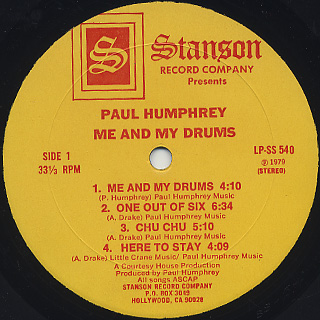 Paul Humphrey / Me And My Drum label