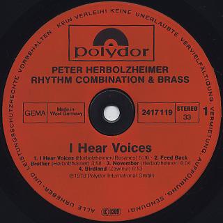 Peter Herbolzheimer Rhythm Combination & Brass / I Hear Voices label