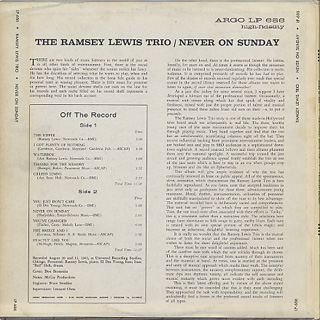Ramsey Lewis Trio / Never On Sunday back