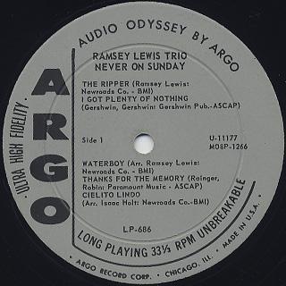Ramsey Lewis Trio / Never On Sunday label