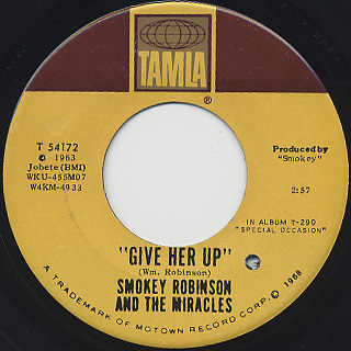 Smokey Robinson and The Miracles / Special Ocassion back