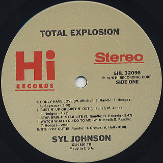 Syl Johnson / Total Explosion label