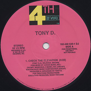 Tony D. / Check The Elevation back